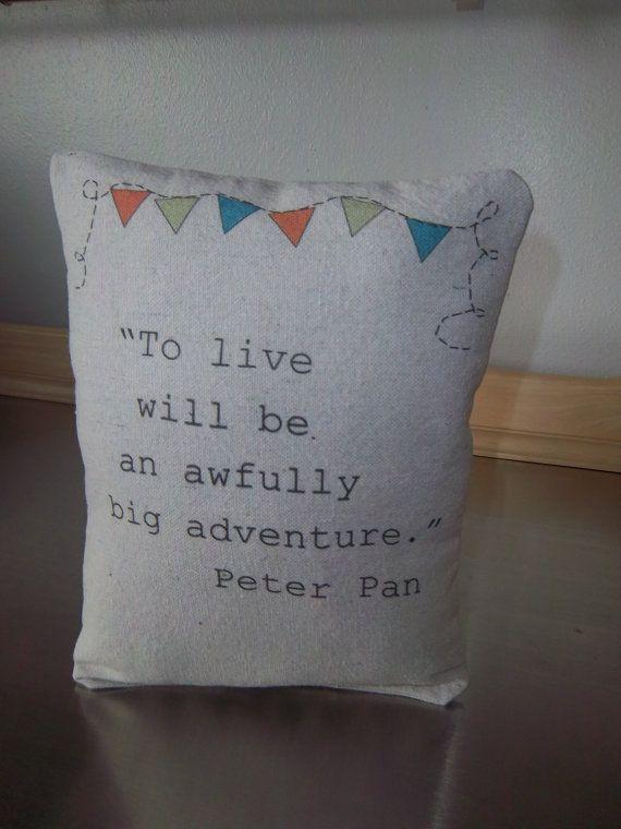 Peter Pan nursery pillow handmade quote J M by SweetMeadowDesigns