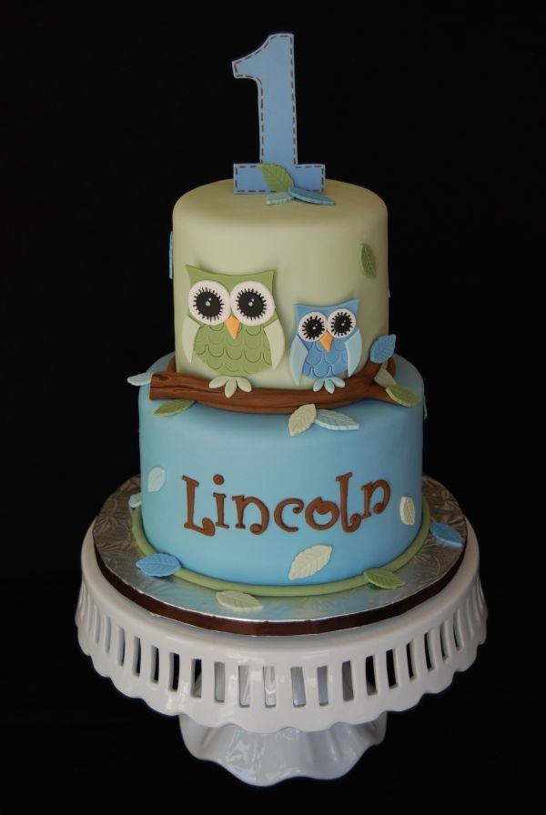 Owl First Birthday Cake by Marniela via Cake Central