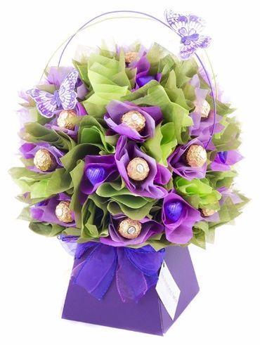 Chocolate Bouquets uk I Ferrero Rocher I chocolate gifts I www.thechocolateflorist.co.uk - Purple Lavender Chocolate bouquet