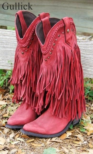 36bf2210db Gullick Cowboy Mid-calf Motorcycle Boot Gladiator Winter Fringed Low Heels  Boots Slip-on