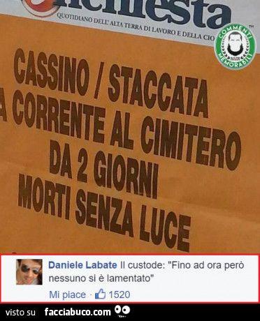 Cassino, staccata la corrente al cimitero da 2 giorni morti senza luce. Il custode: fino ad ora però nessuno si è lamentato