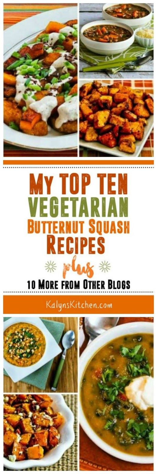 For everyone who loves butternut squash like I do, here are My Top Ten Vegetarian Butternut Squash Recipes! All of these are winners! [found on KalynsKitchen.com] #ButternutSquash #Vegetarian #MeatlessMonday #FallFoods #ButternutSquashRecipes