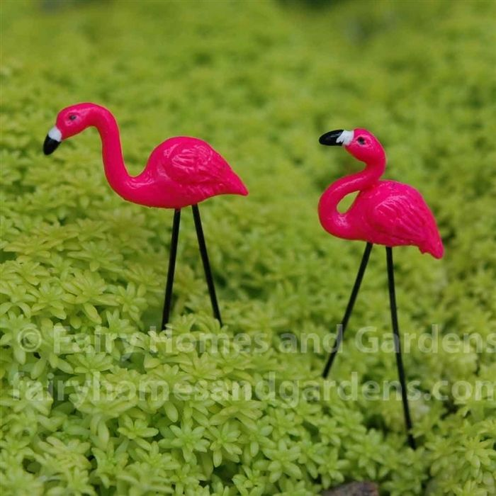 Fairy Homes and Gardens - Miniature Pink Flamingo Lawn Ornaments - set of 2, $4.25 (http://www.fairyhomesandgardens.com/miniature-pink-flamingo-lawn-ornaments-set-of-2/)