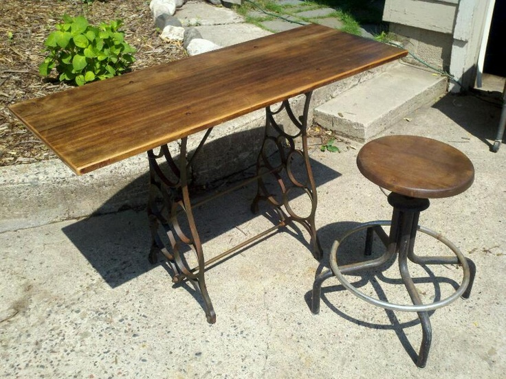 Vintage Sewing Machine Base With Reclaim Top. Stool Assembled From Found  Items.