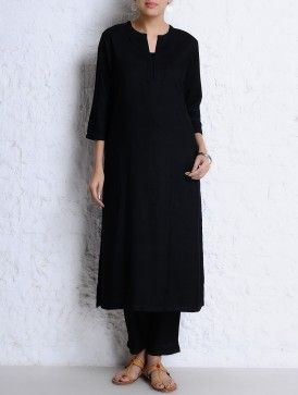 Black Round Neck Stitch Detailed Tussar Cotton Kurta
