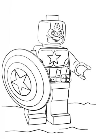Lego Captain America coloring page from Lego Super Heroes category. Select from 25266 printable crafts of cartoons, nature, animals, Bible and many more.