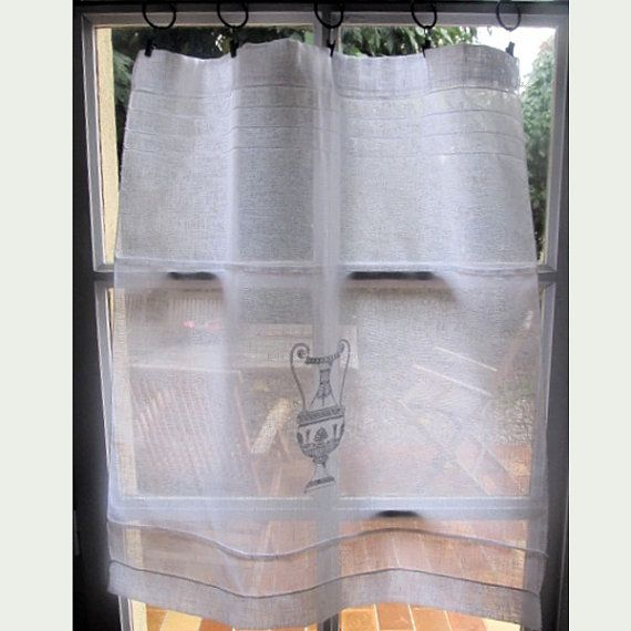 Italian Cafe Curtain Custom White Embroidered by HatchedinFrance