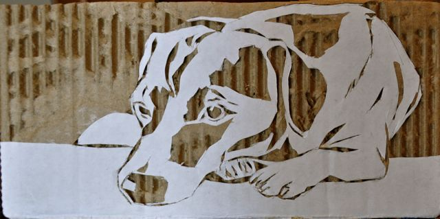 """That Ball Must Be Miles Down River By Now Carved cardboard 6"""" x 3""""  caitlinahern.com"""