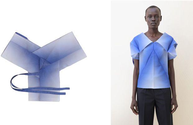 issey miyake.  Muy lindo el concepto.: Miyake Between The Folding, Miyake 1325, Isseymiyake3 Jpg, Fashion Design, Origami Dresses, Geometric Folding, Issey Miyake, Folding Clothing, Origami Clothing