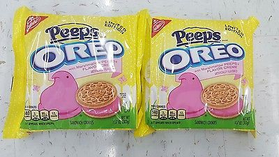 NEW! 2 PKGS. Nabisco OREO PEEPS Flavored Creme Sandwich Cookies LIMITED EDITION