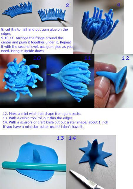 I use Nicholas Lodge gum paste receipt what dries really fast . With this flower I preferred to tape the star side flowers to the base until they were still soft a little, it prevents breaking them. I never saw a cornflower tutorial, but I needed...