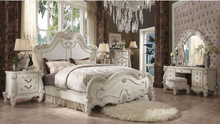 Acme 21760Q Versailles 5Pcs Bone White Queen Sleigh Bedroom Set