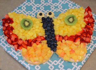Butterfly Fruit Tray | butterfly shaped cookie is topped with flavored cream cheese and fruit ...