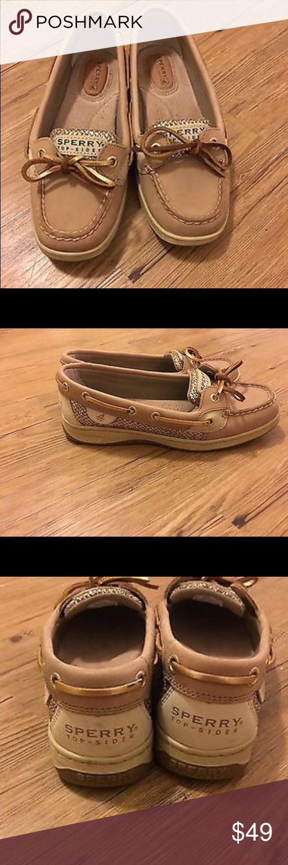 Women's Sperry top sider Angelfish gold sparkle Like brand new! Only worn briefly for one time. You can tell by looking at the hardly worn soles of the shoes (see picture) beautiful size 6 women's shoes. Super comfortable Sperry Top-Sider Shoes Flats & Loafers