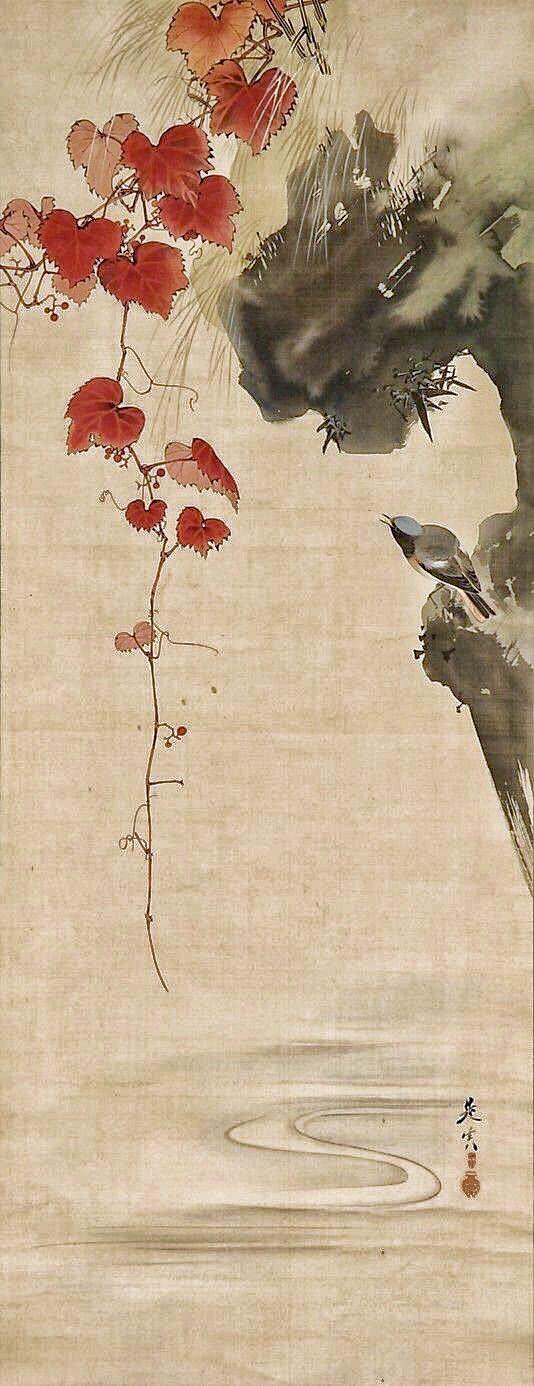 Leaves and Bird. Shibata Zeshin (Japanese, 1807–1891). 19th century. Japan. Hanging scroll; ink on silk
