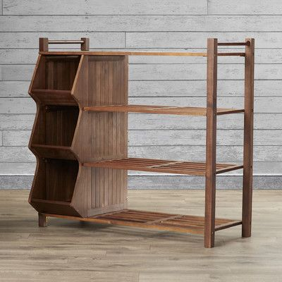 Features:  -Sturdy outdoor shoe rack.  -Cubby has three large compartments.  -Along with four tier shoe rack.  -Provides plenty of useful storage.  -Upturn lips keep items stored.  -Maximize storage s