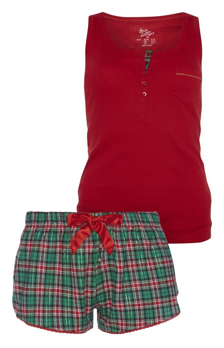 Primark - Korte pyjama met rode top/geruite short