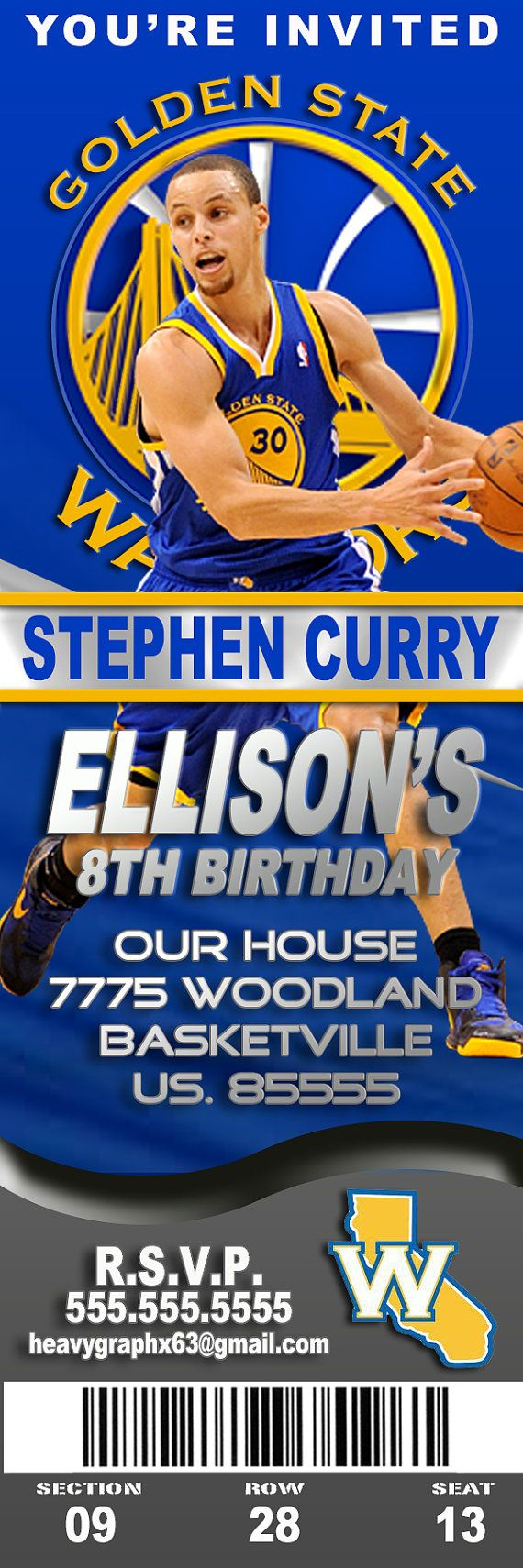 20 invites with envelopes Golden State Warriors Birthday party Invitation
