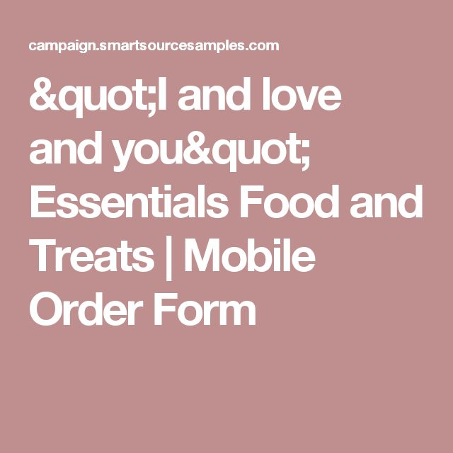 I and love and you - food order form