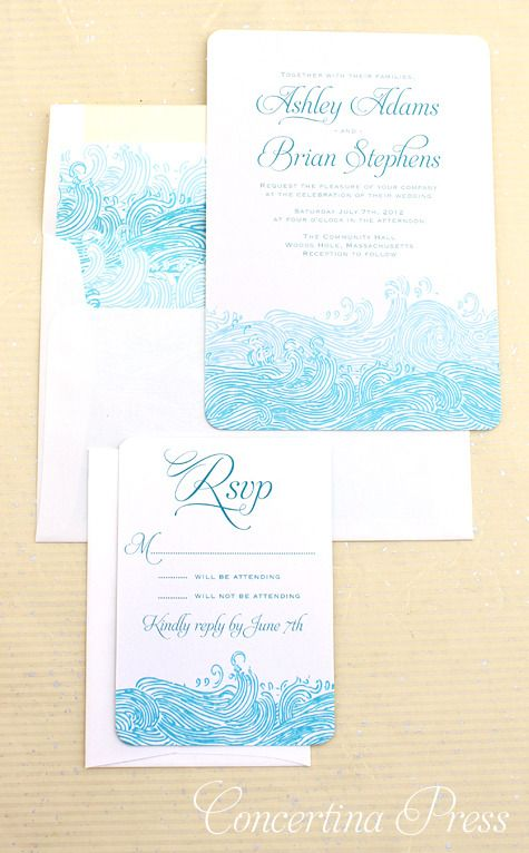 Waves Beach Wedding Invitations In 2018 Vintage Nautical Concertina Press Pinterest And