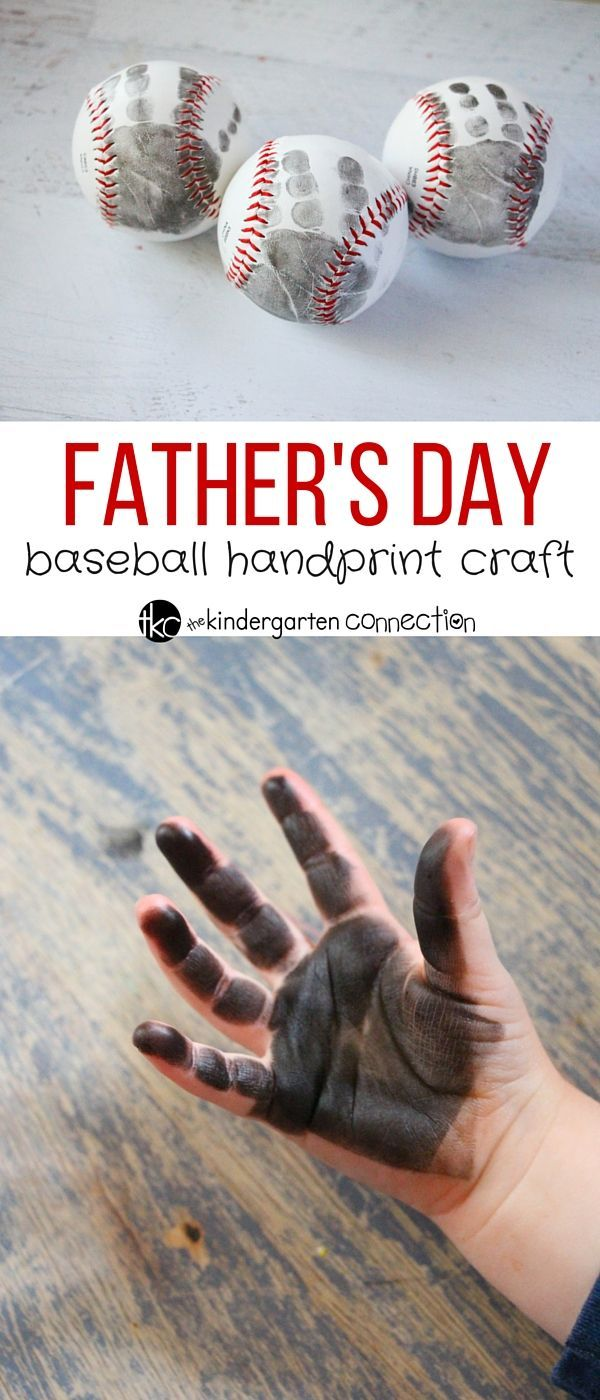 This father's day handprint craft is a quick and easy craft that will be a wonderful keepsake and memory! Simple to make with a baseball and paint.