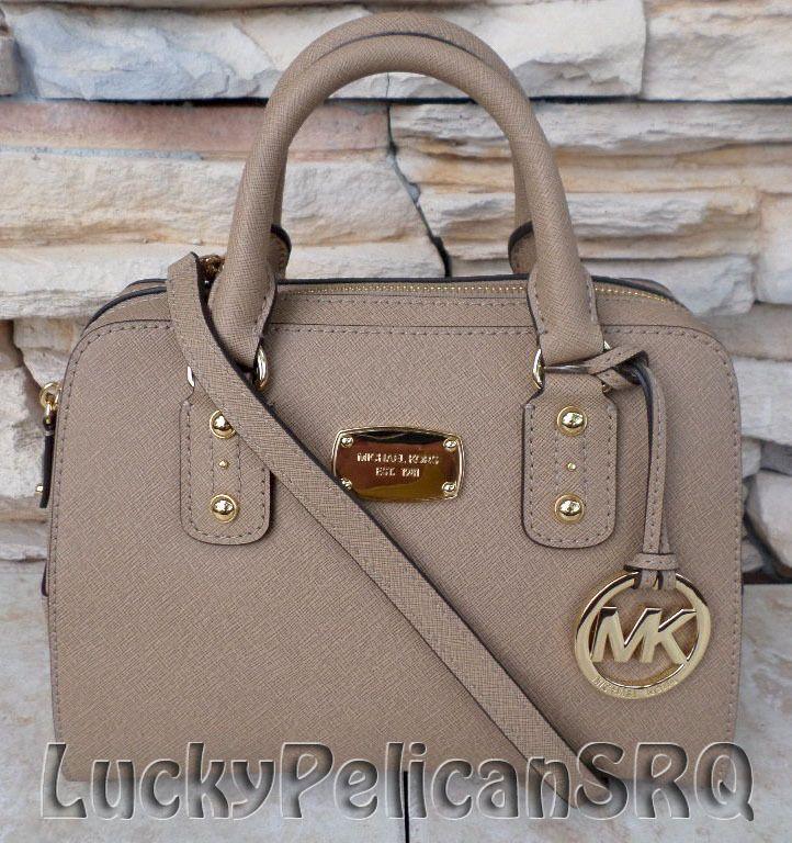 Michael Kors Small Saffiano Dark Khaki  Beige Satchel Bag Handbag NWT #MichaelKors #Satchel