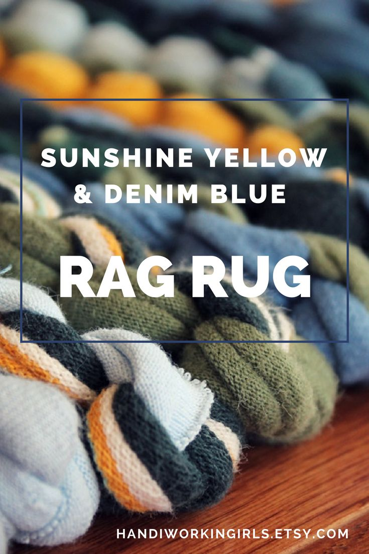 Sunshine Yellow & Denim Blue T-Shirt Rag Rug (25 inches by 35 inches): https://www.etsy.com/listing/76038303/rag-rug-t-shirt-rug-upcycled-knits