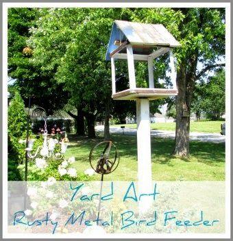 Rustic & Refined: Yard Art Fest - Rusty Metal Bird Feeder
