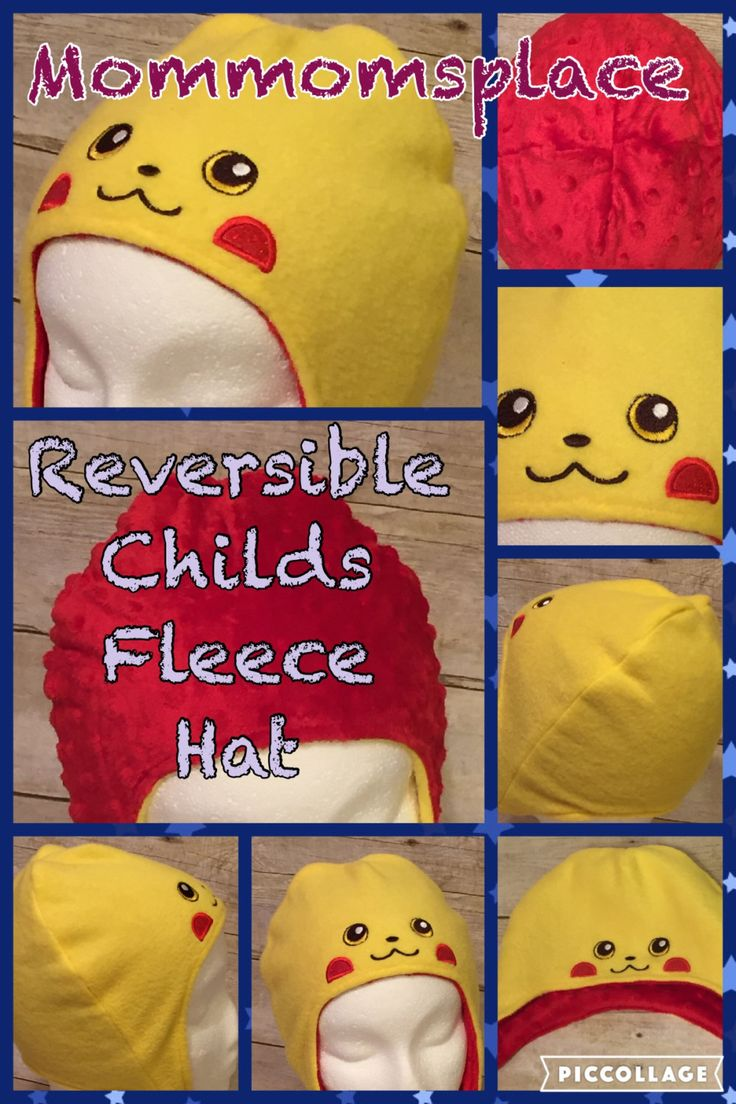 Reversible Fleece Hats for babies, children, teens and adults! Made to order. Inspired by Pokemon game characters. by MomMomsPlace on Etsy