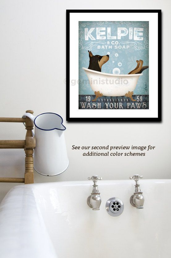 Australian Kelpie dog bath soap Company vintage style artwork by Stephen Fowler UNFRAMED Giclee Signed Print