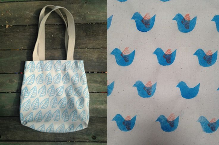 Hepphabit block printed canvas tote bag - leaves or birds