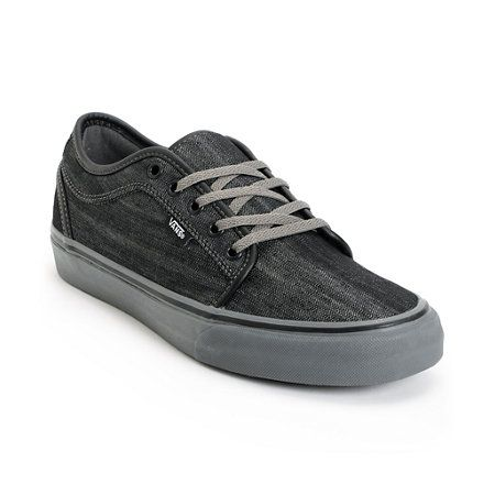 Skate shoes just don't get much better than the Vans Chukka Low black denim and pewter skate shoes. This kicks come in a charcoal and black denim upper with black leather detailing for top notch style. The lightly padded collar and tongue, mixed with the EVA insole, vulcanized outsole and waffle/hexagon sop construction take these classic skate shoes to the next level. Satisfy your insatiable appetite to skate in the Vans Chukka Low skate shoes. Check out all   black Vans here.