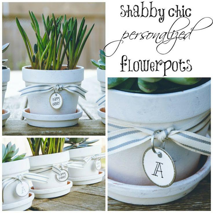 Shabby Chic Personalized Flowerpots | personallyandrea.com