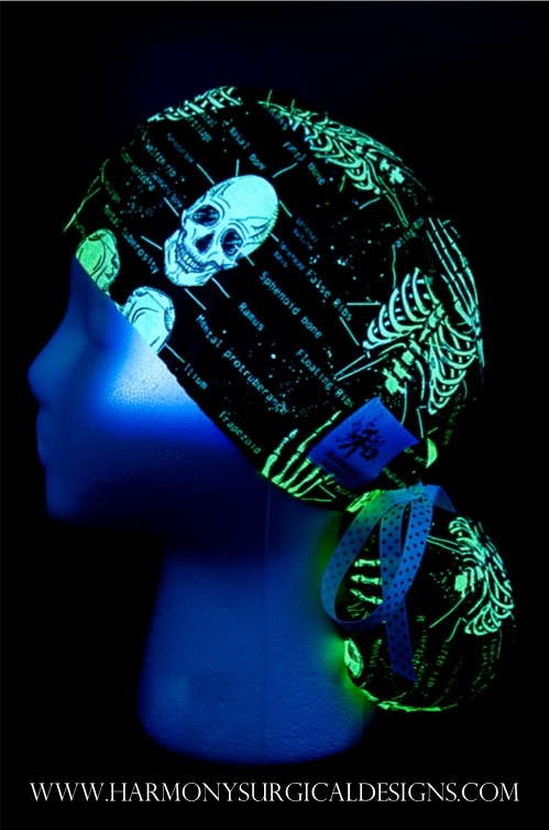 Yes, it glows in the dark! Our Ortho Ponytail Scrub Hat P1172  www.HarmonySurgicalDesigns.com