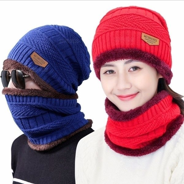 Winter Beanies Women Scarf Knitted Hat Caps Mask Lady Warm Baggy Winter Hats