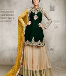 Buy black and beige bhagalpuri embroidered semi_stitched salwar with dupatta party-wear-salwar-kameez online