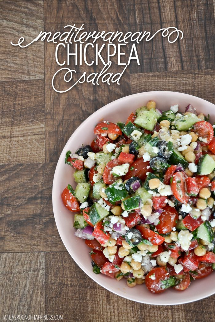 Mediterranean Chickpea Salad - A Teaspoon of Happiness  Verdict: Taste - Meh (kind of bland).  Appearance - Looked delicious