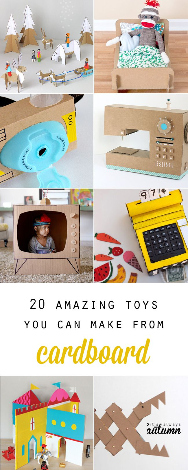 20 amazing toys you can make from cardboard - these would be great for rainy days, summer fun, or even for Christmas gifts!