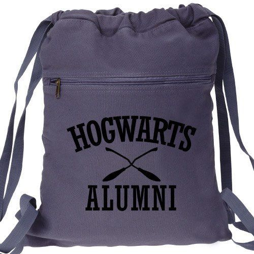 Hogwarts Alumni Harry Potter Backpack. Canvas Drawstring School of Witchcraft and Wizardry Inspired Book Bag Design. Great backpack for Magic School and everyday use! Custom graphic fun and functional