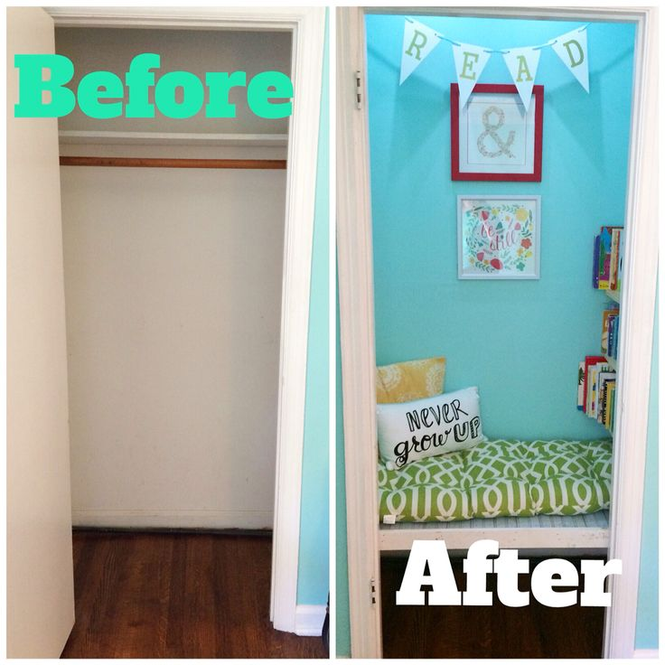 Turn a not-so-needed closet into a fun little reading nook for your child!