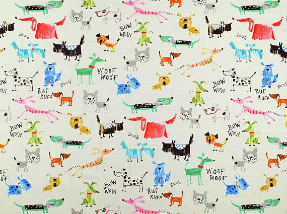 Whimsical Dog Print Upholstery Fabric For Slipcovers Cushions And