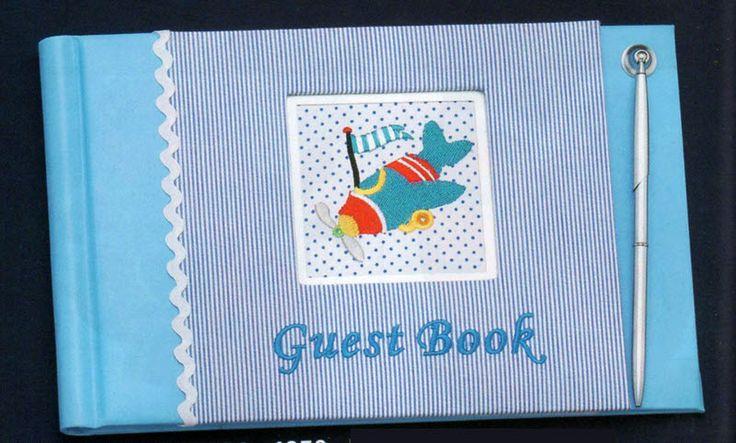 Ευχολόγιο - βιβλίο ευχών βάπτισης σιέλ με αεροπλανάκι και στυλό