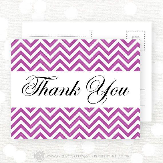 Thank You Card Printable Lilac Chevron  INSTANT by AmeliyCom, $5.00 Printable Thank You Card for all occasions - INSTANT DOWNLOAD Thank You Card. Wedding Thank You Card, Bridal Shower Thank You Card, Bridesmaid Thank You Card, Bitthday Thank You Card, Baby Shower Thank You Card, Baby Thank You Cards