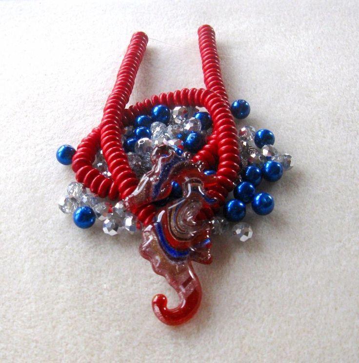 Seahorse Lampwork Pendant, Howlite Rondelle Beads, Glass Beads, DIY Jewelry Kit
