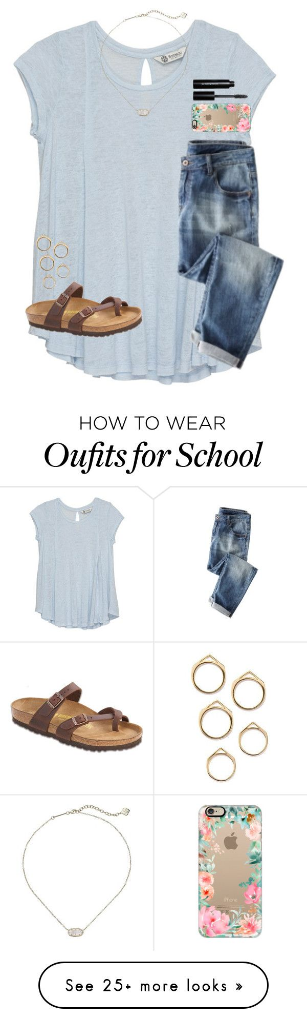 """there's only a week left of school!!"" by mimichavi on Polyvore featuring Bobeau, Bobbi Brown Cosmetics, Birkenstock, Casetify and Kendra Scott"
