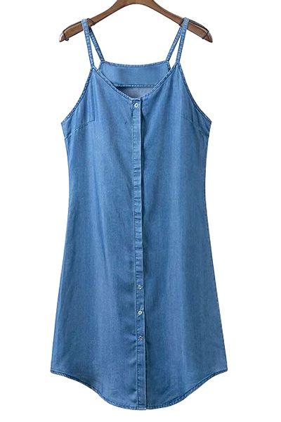 Single-Breasted Cami Sleeveless Denim Dress