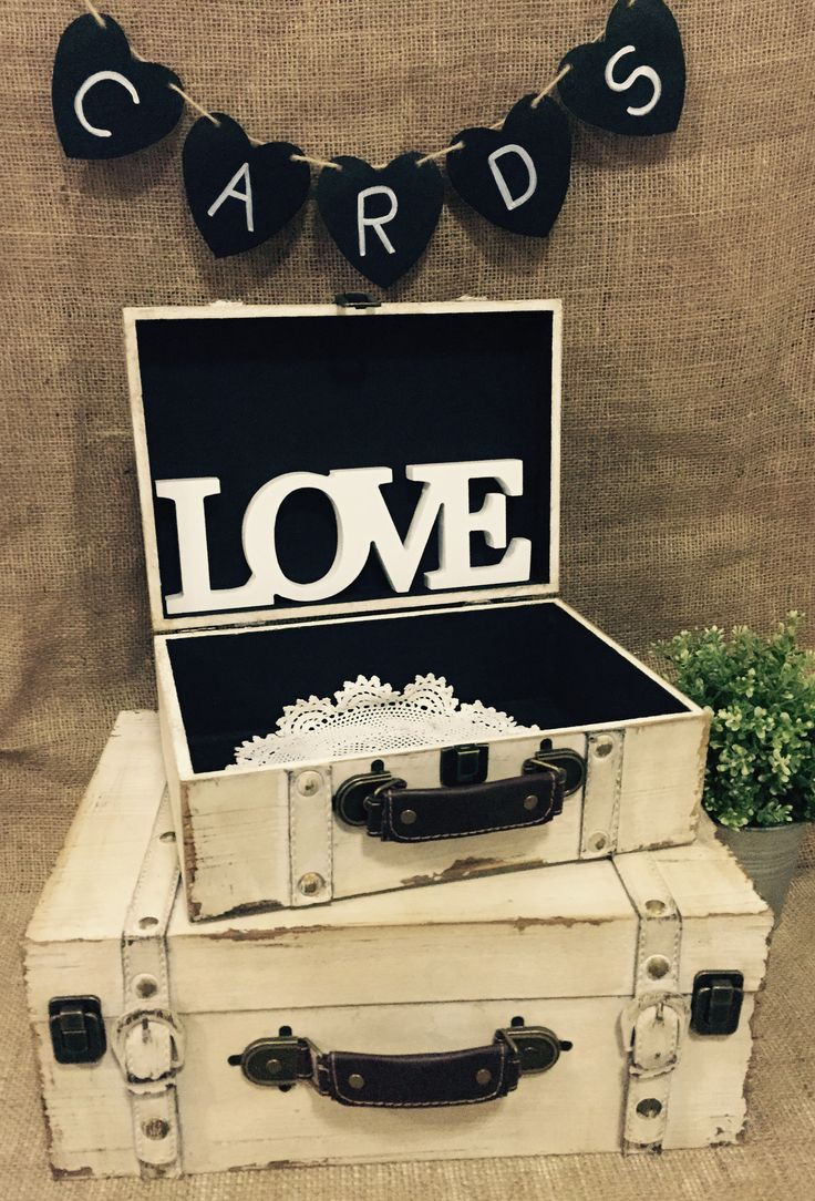 Vintage suitcase wedding wishing well chest available at www.melroseplacehomewares.com.au