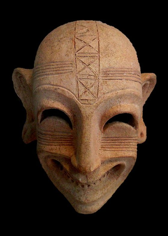 Carthaginian mask, Fifth-fourth century BC, terracotta, Bardo National Museum, Tunis.