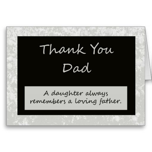 wedding thank you card to parent dad  zazzle  boss