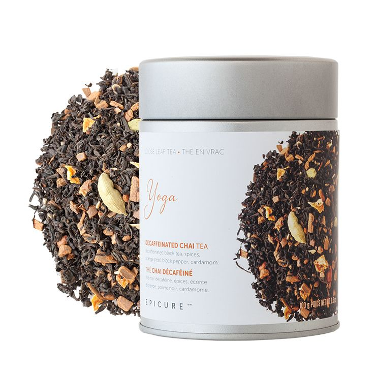 Yoga Decaffeinated Chai Tea: Namaste your cares away and promote serenity with this soothing, aromatic blend of decaf black chai, spices, orange peel, black pepper, and cardamom.